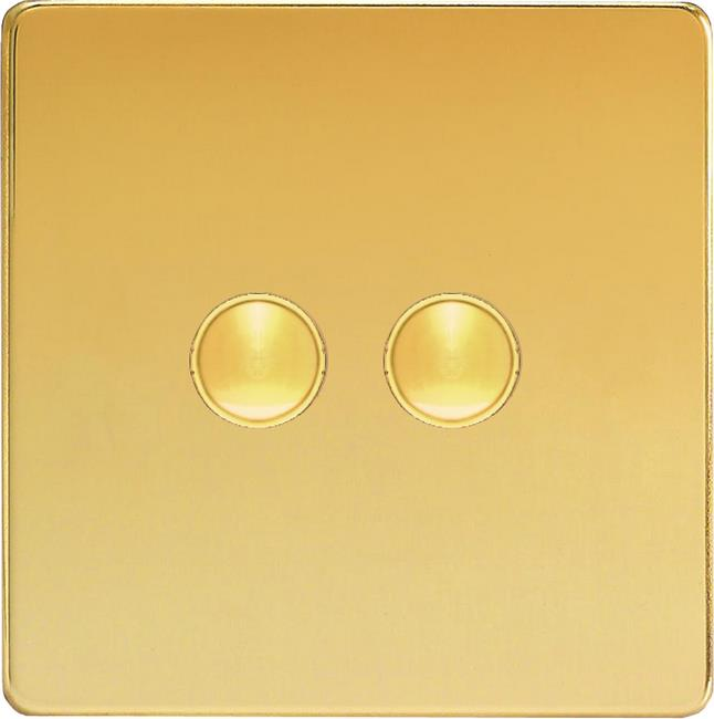 XEVP2S Varilight European 2 Gang (Double) 1 or 2 way 6 Amp Push-on Push-off Switch (impulse), Dimension Screwless Polished Brass Effect