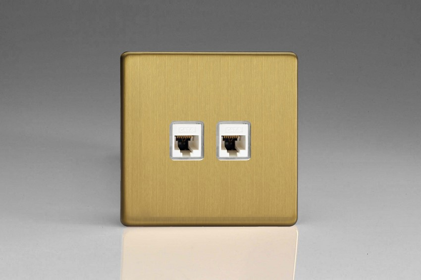 Varilight Euro Fixed Range 2 Gang RJ456 Cat 6 White Data Socket European Screwless Brushed Brass
