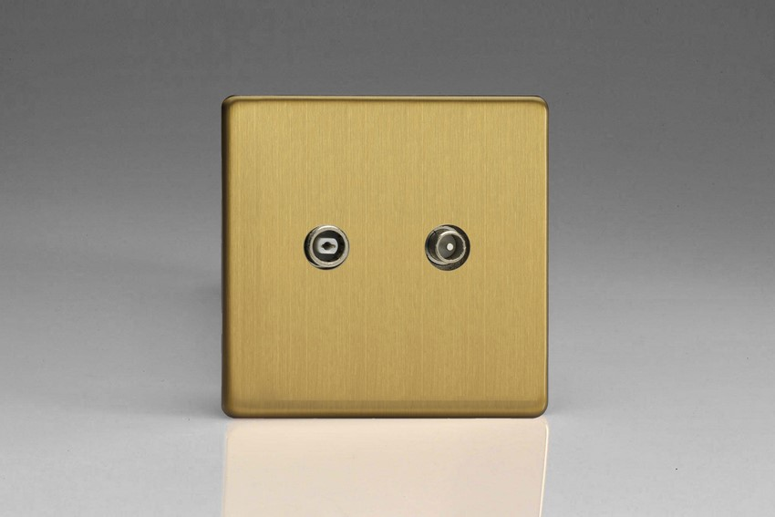 Varilight Euro Fixed Range RTV 14dB Passage/Inline/Slave Socket, for Analogue and Digital RTV Installations European Screwless Brushed Brass