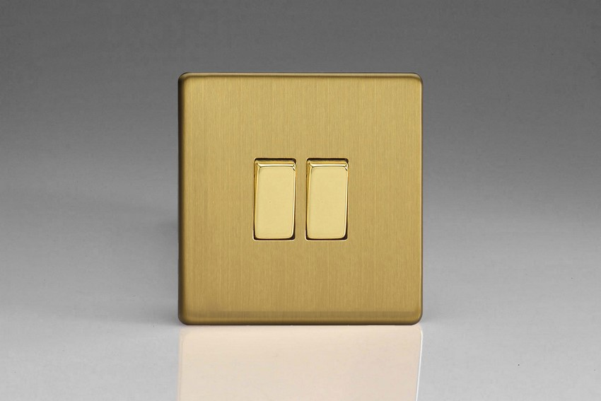 Varilight Euro Fixed Range 2 Gang 10 Amp Rocker Switch European Screwless Brushed Brass