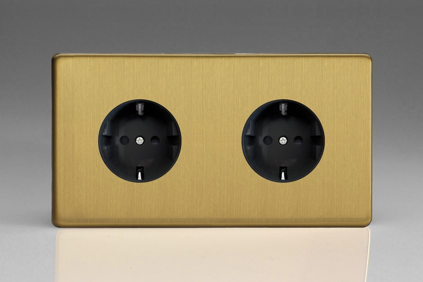 XEB55FB Varilight European 2 Gang (Double), Schuko Flush Design Socket, Dimension Screwless Brushed Brass (Double Plate)