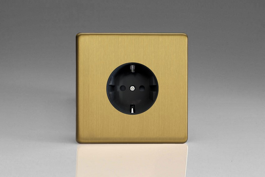XEB5FG Varilight European 1 Gang (Single), Schuko Flush Design Socket, Dimension Screwless Brushed Brass