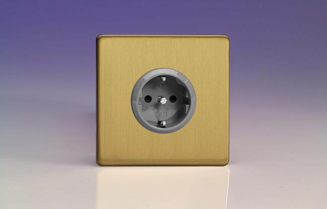 XEB5S Varilight European 1 Gang (Single), Schuko Protruding Design Socket, Dimension Screwless Brushed Brass