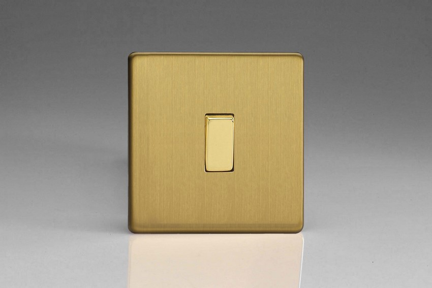 Varilight Euro Fixed Range 1 Gang 10 Amp Intermediate Rocker Switch European Screwless Brushed Brass