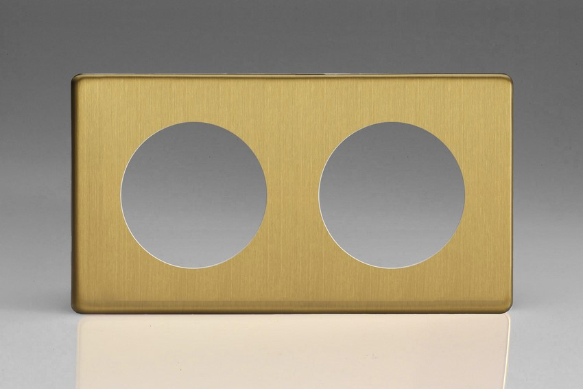 XEBG2S-P Varilight European VariGrid Double faceplate with a 2 hole cut-out, Dimension Screwless Brushed Brass
