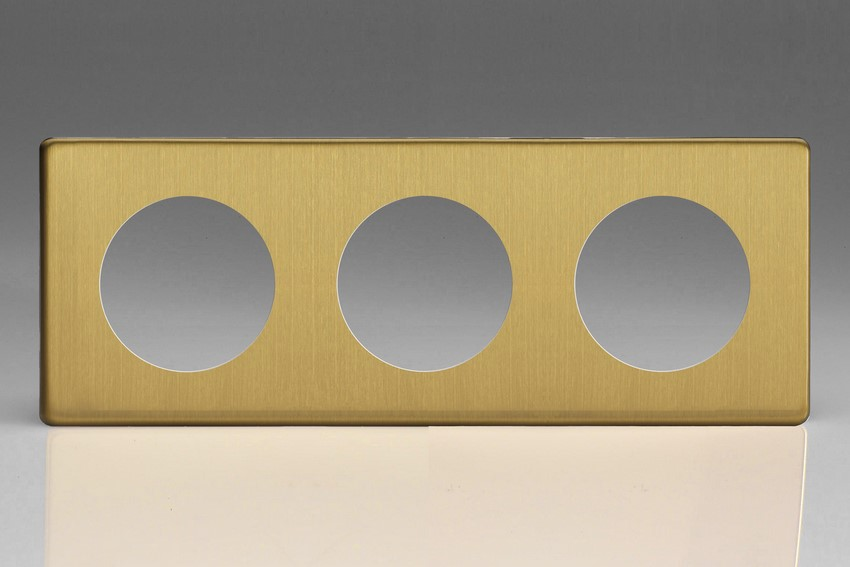 Varilight European VariGrid Triple faceplate with a 3 hole cut-out in Brushed Brass