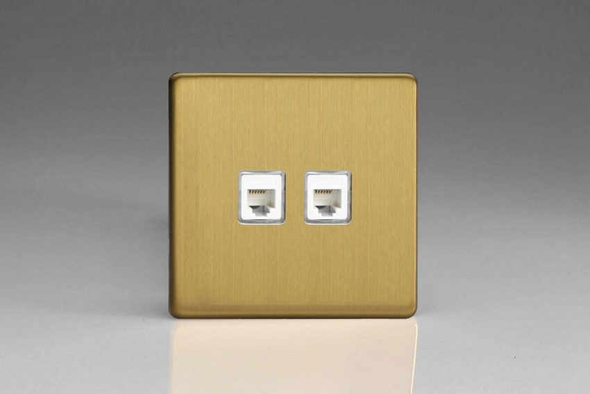 XEBRJ12.12S Varilight European 2 Gang (Double) RJ12 Socket for European, Irish, International, telephone and other RJ12 applications, Dimension Screwless Brushed Brass Effect