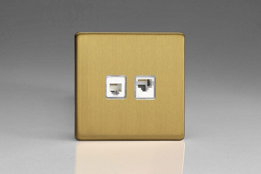 XEBRJ12.45S Varilight European 2 Gang (Double), RJ45 (CAT5/5e) and RJ12 Socket, Dimension Screwless Brushed Brass Effect
