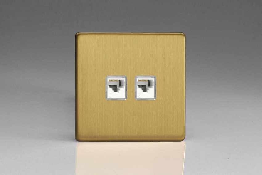 Varilight Euro Fixed 2 Gang RJ45 CAT 5e Sockets European Screwless Brushed Brass