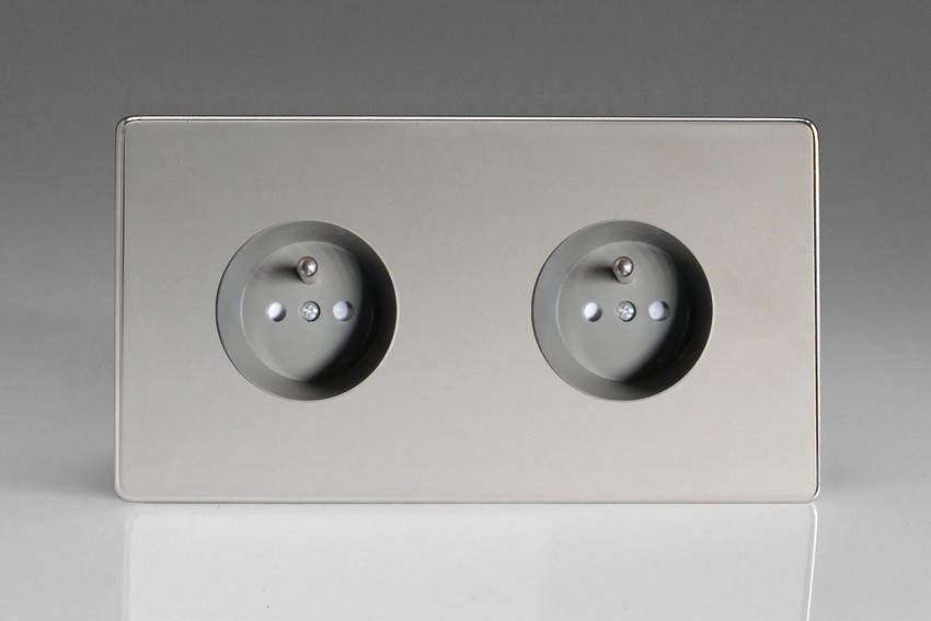 XEC44FG Varilight European 2 Gang (Double), Euro (Pin Earth) Flush Design Socket, Dimension Screwless Polished Chrome (Double Plate)
