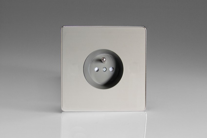 XEC4FG Varilight European 1 Gang (Single), Euro (Pin Earth) Flush Design Socket, Dimension Screwless Polished Chrome