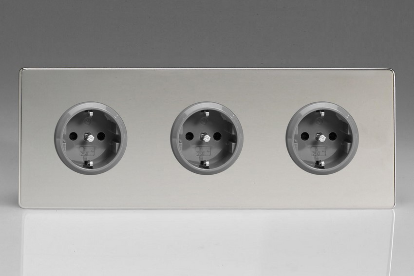 XEC5.5.5S Varilight European 3 Gang (Triple), Schuko Protruding Design Socket, Dimension Screwless Polished Chrome (Triple Plate)