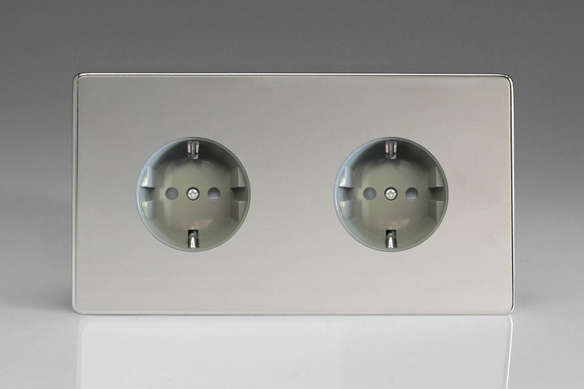 XEC55FG Varilight European 2 Gang (Double), Schuko Flush Design Socket, Dimension Screwless Polished Chrome (Double Plate)