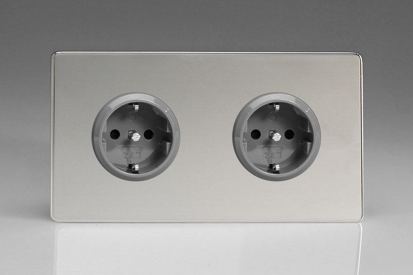 XEC5.5S Varilight European 2 Gang (Double), Schuko Protruding Design Socket, Dimension Screwless Polished Chrome (Double Plate)