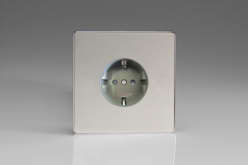 XEC5FG Varilight European 1 Gang (Single), Schuko Flush Design Socket, Dimension Screwless Polished Chrome