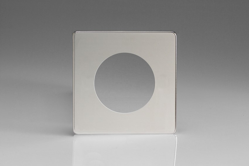 XECG1S-P Varilight European VariGrid Single faceplate with a 1 hole cut-out, Dimension Screwless Polished Chrome