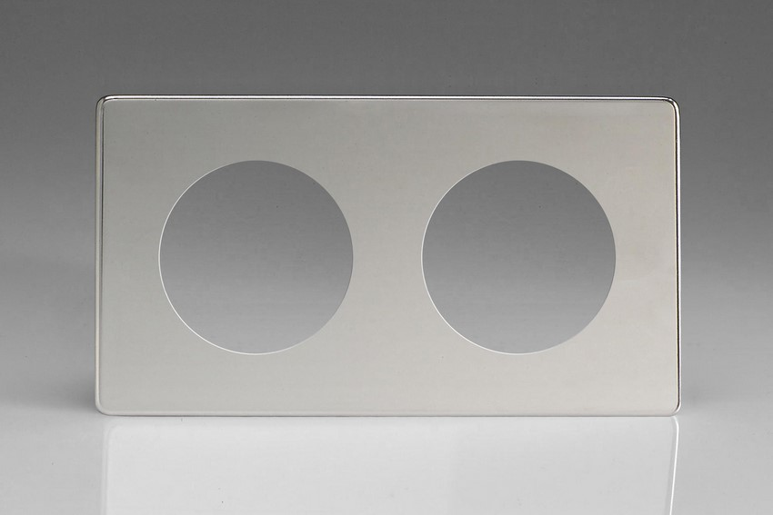 XECG2S-P Varilight European VariGrid Double faceplate with a 2 hole cut-out, Dimension Screwless Polished Chrome