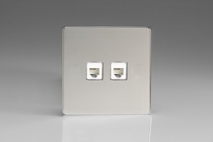 XECRJ12.12S Varilight European 2 Gang (Double) RJ12 Socket for European, Irish, International, telephone and other RJ12 applications, Dimension Screwless Polished Chrome (Bespoke & Special)