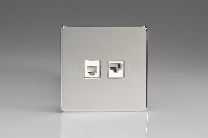 XECRJ12.45S Varilight European 2 Gang (Double), RJ45 (CAT5/5e) and RJ12 Socket, Dimension Screwless Polished Chrome (Bespoke & Special)