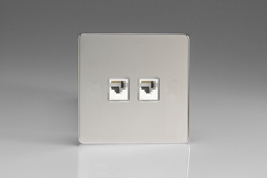 XECRJ45.45S Varilight European 2 Gang (Double), RJ456 (CAT6/5/5e) Socket, Dimension Screwless Polished Chrome (Bespoke & Special)