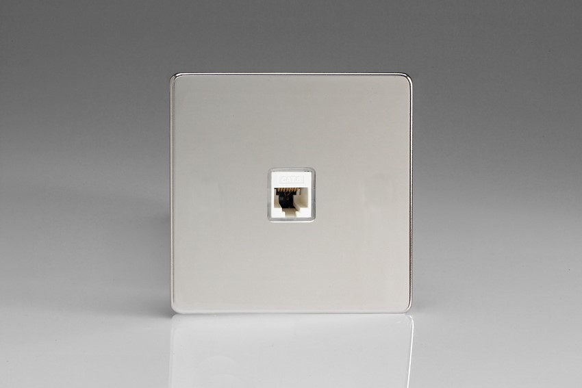 XECRJ456S Varilight European 1 Gang (Single), RJ456 (CAT6) Socket, Dimension Screwless Polished Chrome (Bespoke & Special)