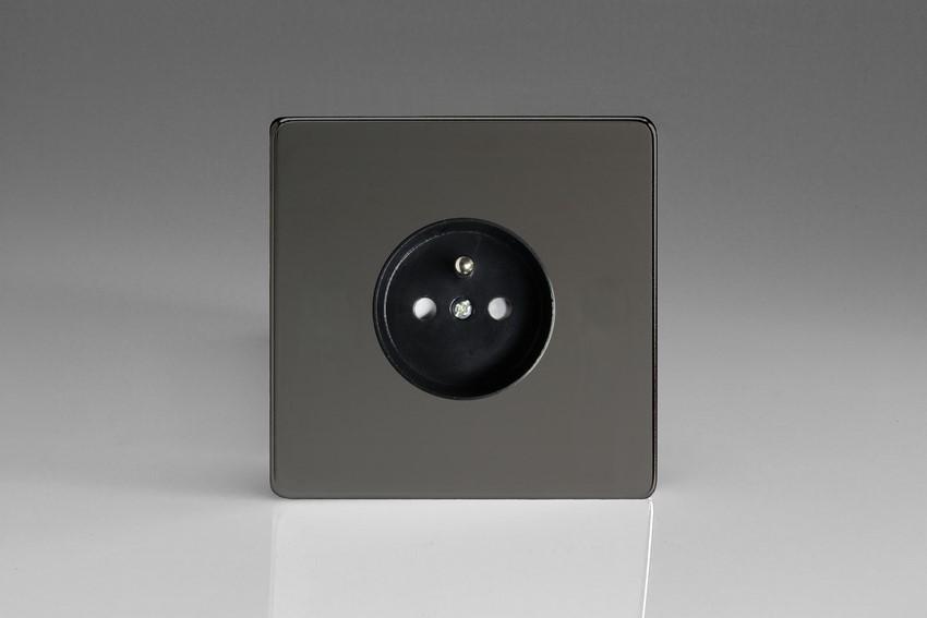 XEI4S (XEI4FB) Varilight European 1 Gang (Single), Euro (Pin Earth) Flush Design Socket, Dimension Screwless iridium Black
