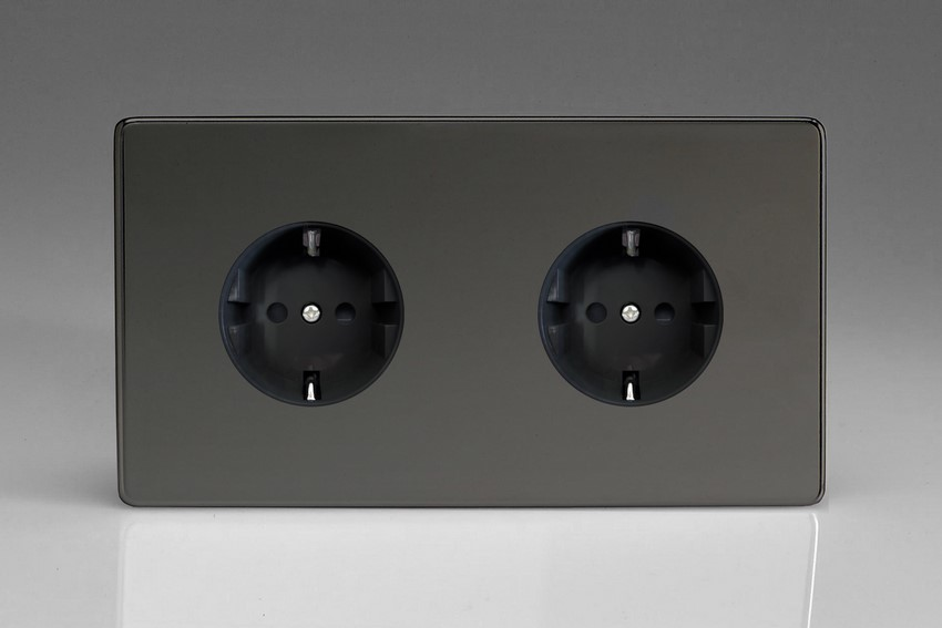 XEI55FB Varilight European 2 Gang (Double), Schuko Flush Design Socket, Dimension Screwless iridium Black (Double Plate)