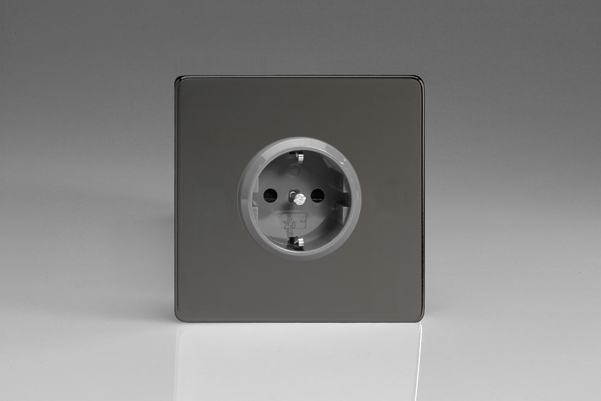 XEI5S Varilight European 1 Gang (Single), Schuko Protruding Design Socket, Dimension Screwless iridium Black
