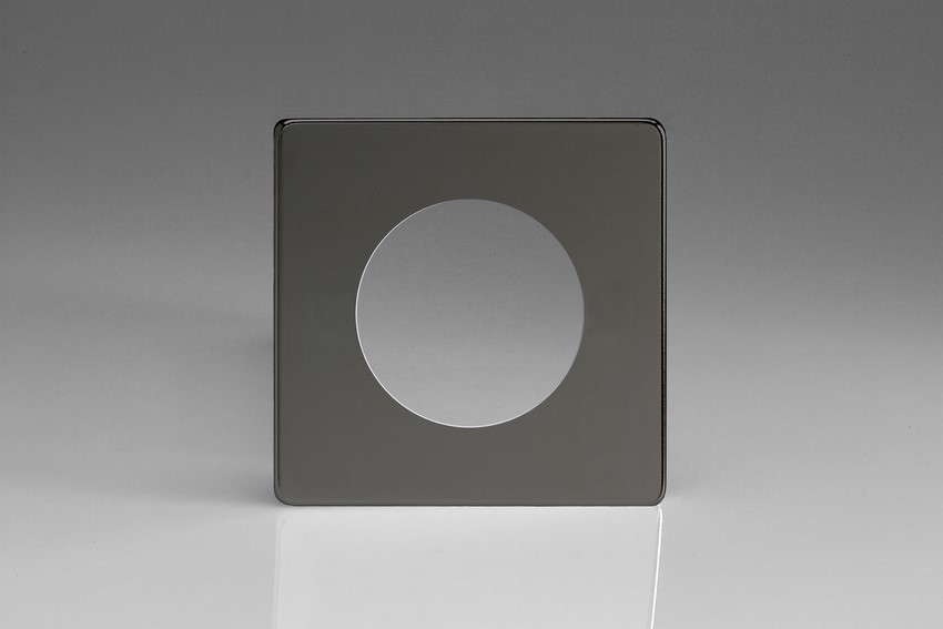 XEIG1S-P Varilight European VariGrid Single faceplate with a 1 hole cut-out, Dimension Screwless Iridium Black