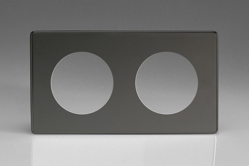 XEIG2S-P Varilight European VariGrid Double faceplate with a 2 hole cut-out, Dimension Screwless Iridium Black