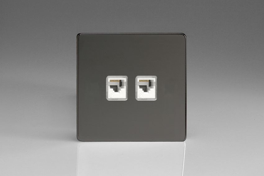 XEIRJ45.45S Varilight European 2 Gang (Double), RJ456 (CAT 6/5/5e) Socket, Dimension Screwless iridium Black