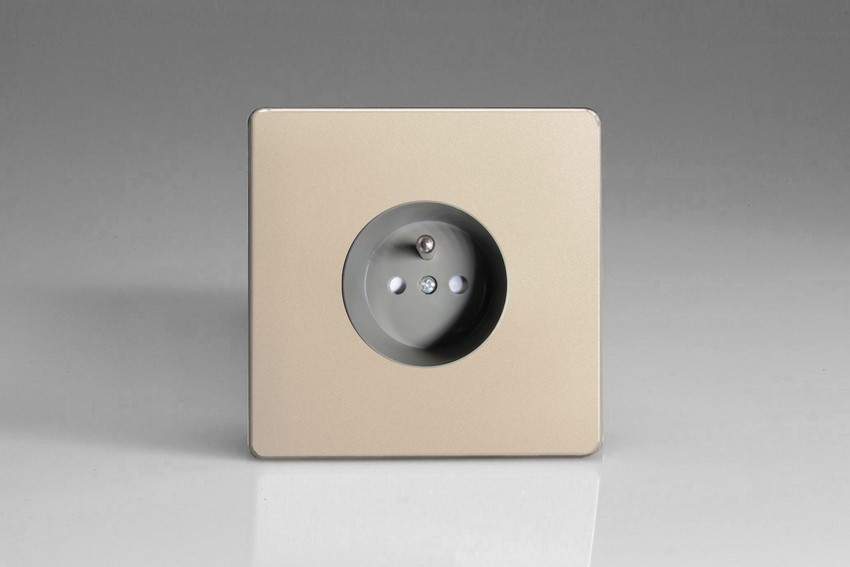 XEN4S (XEN4FG) Varilight European 1 Gang (Single), Euro (Pin Earth) Flush Design Socket, Dimension Screwless Satin Chrome