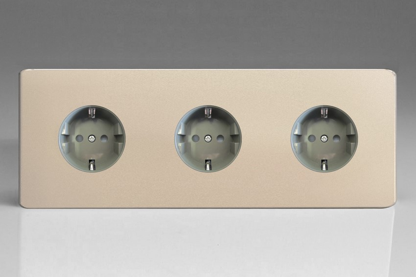 XEN555FG Varilight European 3 Gang (Triple), Schuko Flush Design Socket, Dimension Screwless Satin Chrome (Triple Plate)