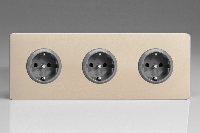 XEN5.5.5S Varilight European 3 Gang (Triple), Schuko Protruding Design Socket, Dimension Screwless Satin Chrome (Triple Plate)