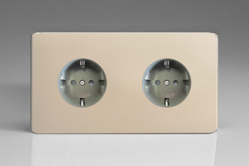 XEN55FG Varilight European 2 Gang (Double), Schuko Flush Design Socket, Dimension Screwless Satin Chrome (Double Plate)