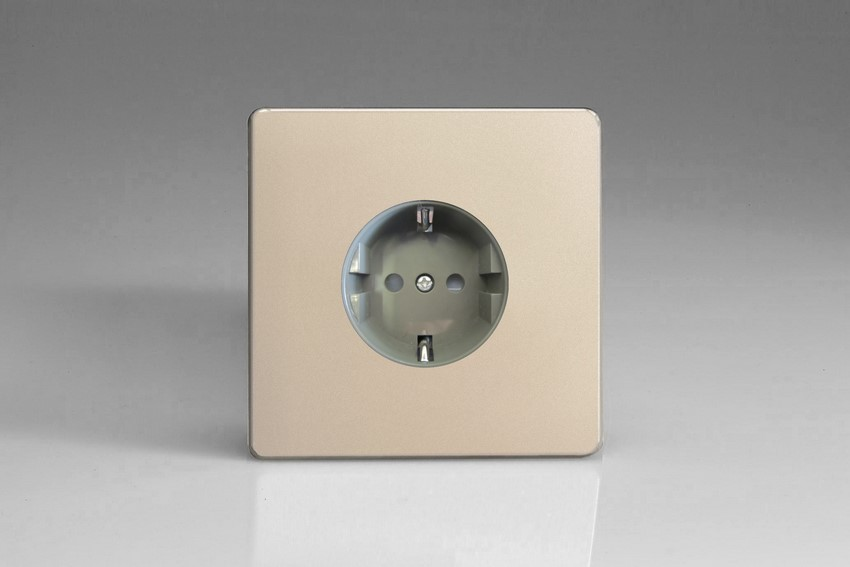 XEN5FG Varilight European 1 Gang (Single), Schuko Flush Design Socket, Dimension Screwless Satin Chrome