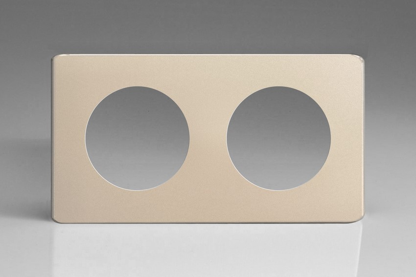 XENG2S-P Varilight European VariGrid Double faceplate with a 2 hole cut-out, Dimension Screwless Satin Chrome