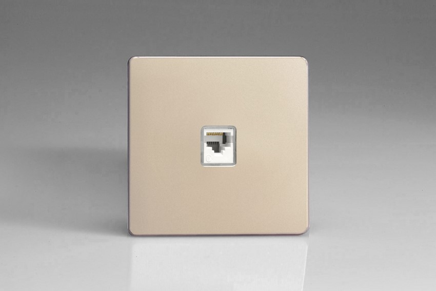 XENRJ45S Varilight European 1 Gang (Single), RJ45 (CAT5/5e) Socket, Dimension Screwless Satin Chrome