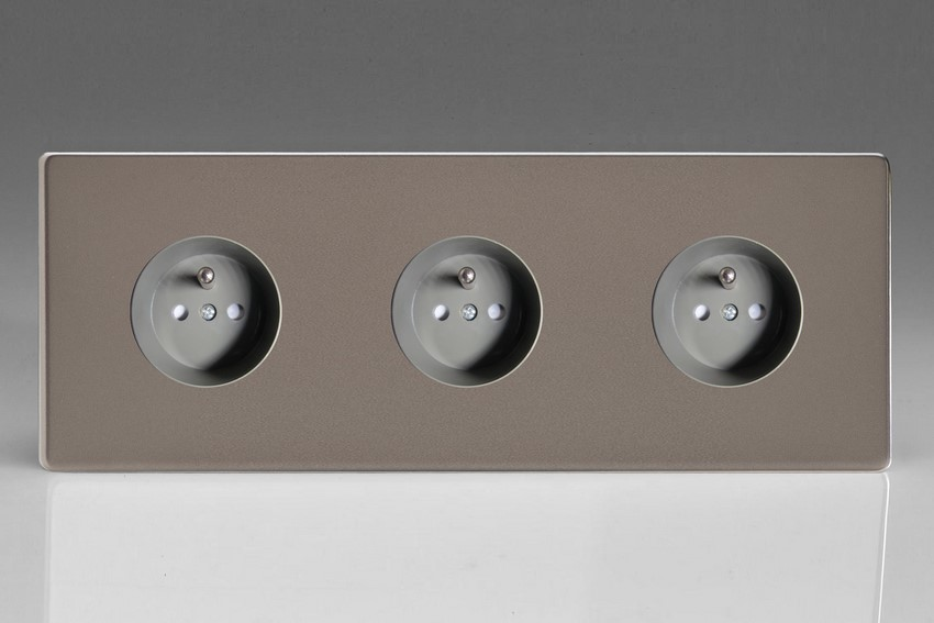 XER4.4.4S (XER444FG) Varilight European 3 Gang (Triple), Euro (Pin Earth) Flush Design Socket, Dimension Screwless Pewter (Triple Plate)