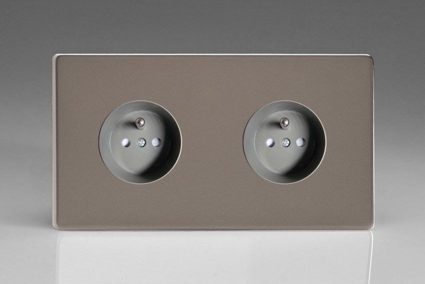 XER4.4S (XER44FG) Varilight European 2 Gang (Double), Euro (Pin Earth) Flush Design Socket, Dimension Screwless Pewter (Double Plate)