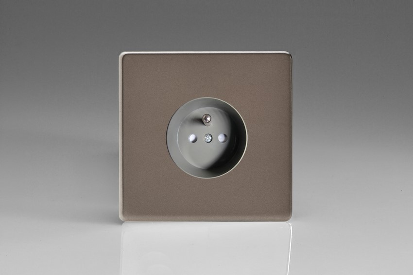 XER4S (XER4FG) Varilight European 1 Gang (Single), Euro (Pin Earth) Flush Design Socket, Dimension Screwless Pewter