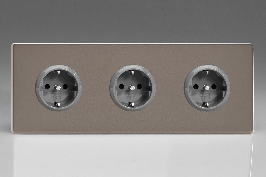 XER5.5.5S Varilight European 3 Gang (Triple), Schuko Protruding Design Socket, Dimension Screwless Pewter (Triple Plate)