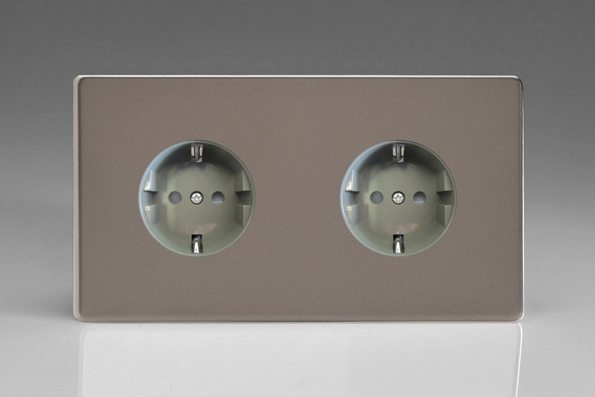 XER55FG Varilight European 2 Gang (Double), Schuko Flush Design Socket, Dimension Screwless Pewter (Double Plate)