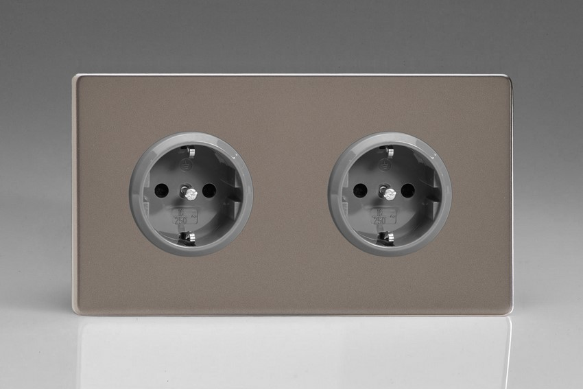 XER5.5S Varilight European 2 Gang (Double), Schuko Protruding Design Socket, Dimension Screwless Pewter (Double Plate)