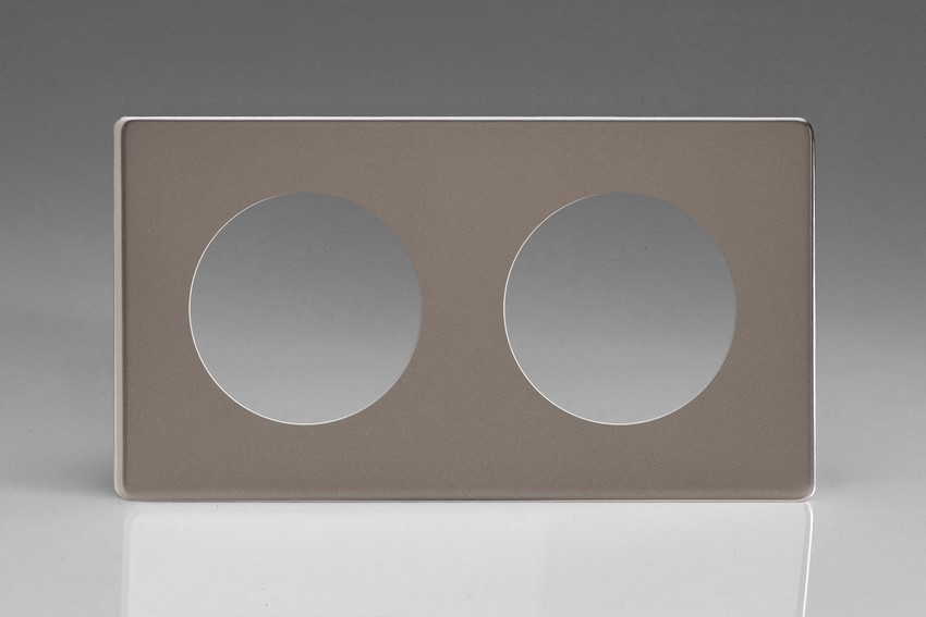 XERG2S-P Varilight European VariGrid Double faceplate with a 2 hole cut-out, Dimension Screwless Pewter