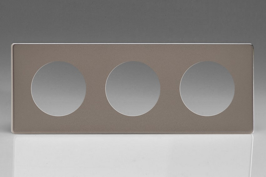 XERG3S-P Varilight European VariGrid Triple faceplate with a 3 hole cut-out, Dimension Screwless Pewter