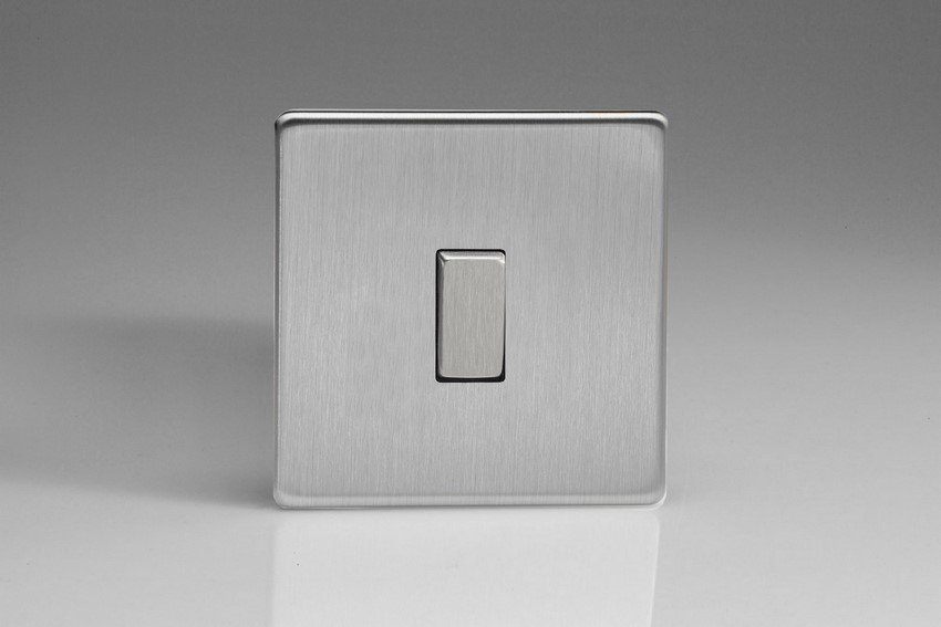XES1S Varilight European 1 Gang (Single), 1 or 2 Way 10 Amp Switch, Dimension Screwless Brushed Steel