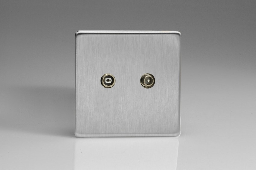 Varilight Euro Fixed Range 2 Gang RTV Termination Socket for Analogue and Digital RTV Installations European Screwless Brushed Steel