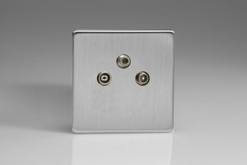 Varilight Euro Fixed Range 3 Gang RTV and Satellite Termination Socket for Analogue and Digital RTV-SAT Installations European Screwless Brushed Steel