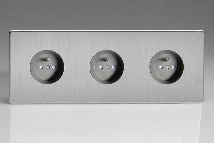 XES4.4.4S (XES444FG) Varilight European 3 Gang (Triple), Euro (Pin Earth) Flush Design Socket, Dimension Screwless Brushed Steel (Triple Plate)